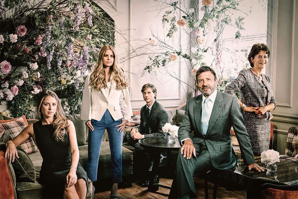 Sir Rocco Forte mit seiner Schwester Olga Polizzi und seinen Kindern Lydia, Irene und Charles