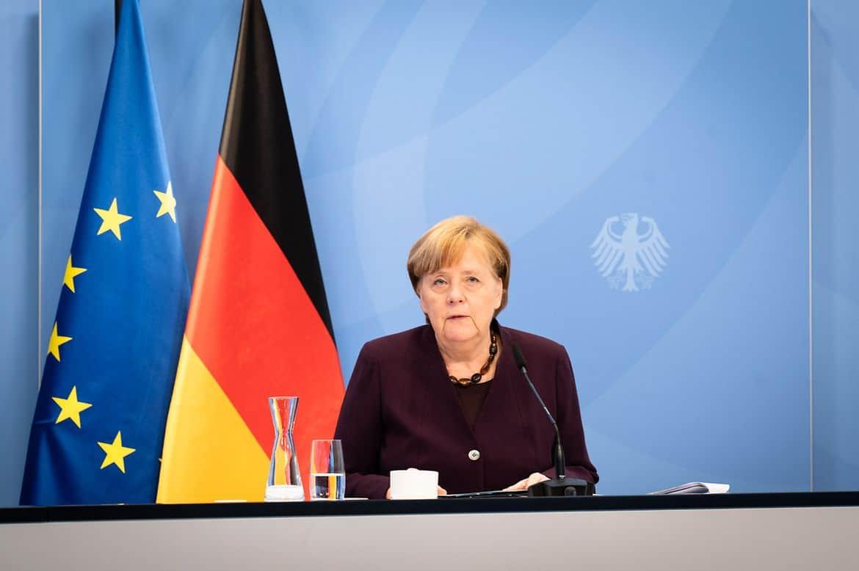 Bundeskanzlerin Angela Merkel bei der Videokonferenz