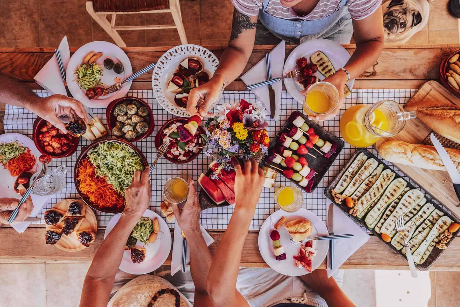 Food Festival gedeckter Tisch